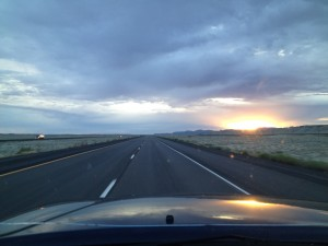 Sunset on the lonesome Highway 6 somewhere in Utah.