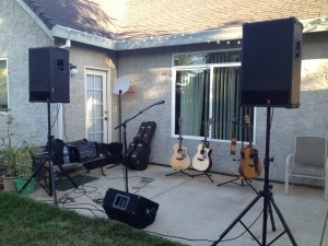 Force de Taylor: our setup for the backyard house concert Kyle Williams and I performed in Chico, CA last night.