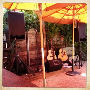 My mobile set up outside at Hopmonk Tavern. It was a compact stage, but man... it did sound pretty good in that space!