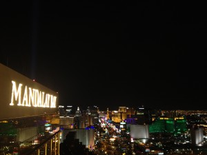 Looking out at the strip from the top of the Mandalay Bay hote in Las Vegas, NV after my set at House of Blues.