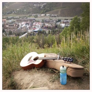 Out for a little hiking and a little picking on Vail Mountain with my Taylor Guitars GS Mini.
