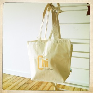 The all-new, 100% organic cotton, Chi McClean totes are here in time for the holidays! Order yours now!