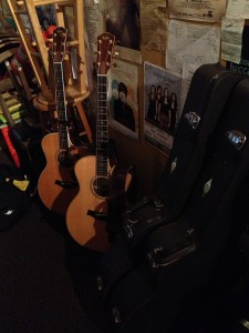 There with me, through thick and thin, and a few bumps along the way... My two Taylor Guitars 814ce's backstage at Zoey's Café in Ventura, CA.