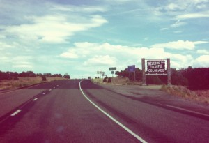 Crossing the Colorado-Utah border en route to Vail, CO after my performance in Salt Lake City, UT the night before.