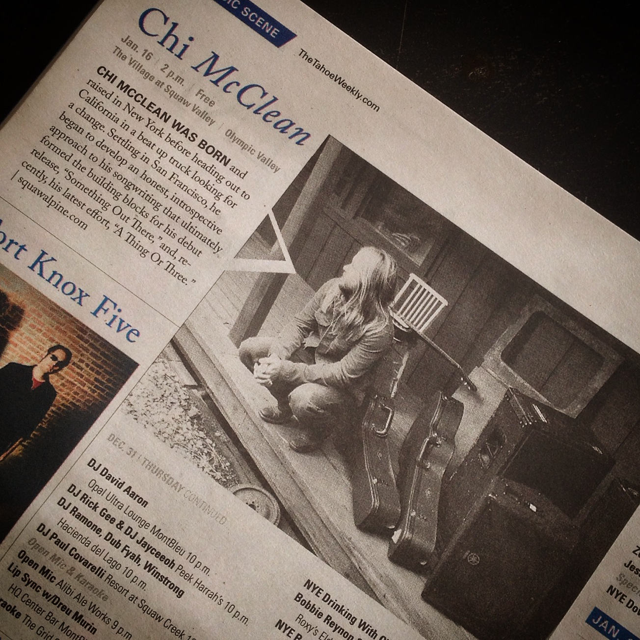Original acoustic roots rock chi mcclean big thanks to the tahoe weekly for their on going support of my local fandeluxe Gallery