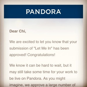 So fired up to announce that Pandora Radio has approved my recent album, 'Let Me In', for their streaming catalog.