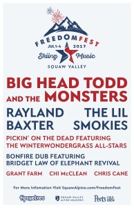 Stoked to play #FreedomFest at Squaw Valley USA this July 1st, 2017 along with a terrific line-up!