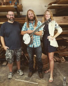 Sharing a few laughs with inventor / designer Chad Kopotic and Jamie Deering in the Wood Room at Deering Banjo Co.